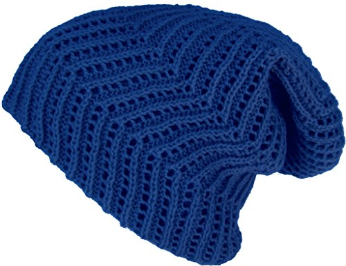 Headchange Ribbed Slouch Knit Beanie (Blue)