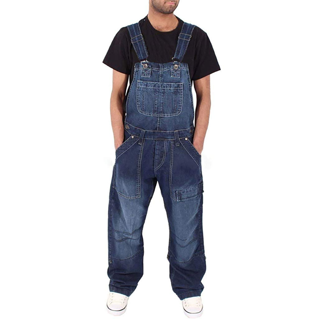 TIFENNY Denim Overall Pants for Men Jeans Wash Overall Jumpsuit Streetwear Pocket Pants Trousers by TIFENNY_Shirts