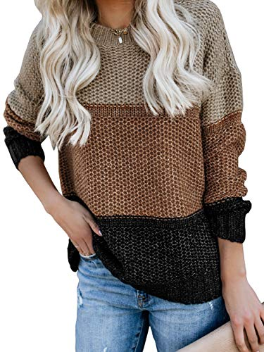 Ybenlow Womens Color Block Oversized Crewneck Sweaters Striped Long Sleeve Loose Chunky Knitted Pullover Jumper Tops Brown
