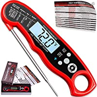 Instant Read Meat Thermometer For Grill And Cooking. UPGRADED WITH BACKLIGHT AND WATERPROOF BODY. Best Ultra Fast Digital Kitchen Probe. Includes Internal BBQ Meat Temperature Guide by Alpha Grillers