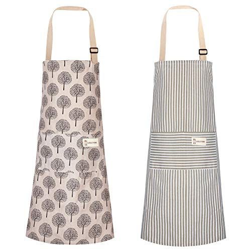 Syhood 2 Pieces Cotton Linen Cooking Apron Adjustable Kitchen Apron Soft Chef Apron with Pocket for Women and Men