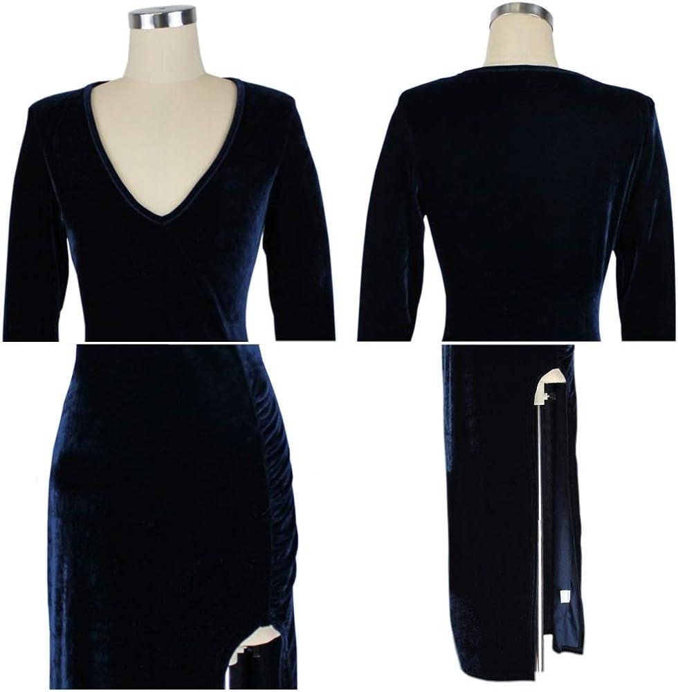 Creator2018 Damen Langarm Abendkleid Samt Maxikleid Tief V-Ausschnitt Gespaltene Abendkleider Elegant Cocktailkleid Partykleid