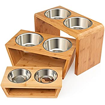 Premium Elevated Dog and Cat Pet Feeder, Double Bowl Raised Stand Comes with Extra Two Stainless Steel Bowls. Perfect for Small Dogs and Cats