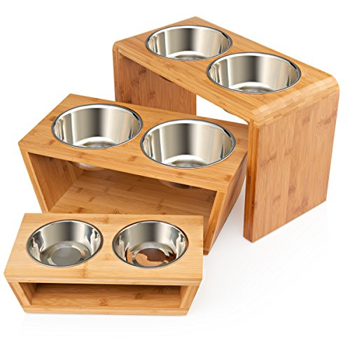 Bamboo Cat Water Bowl (Premium Elevated Dog and Cat Pet Feeder, Double Bowl Raised Stand Comes with Extra Two Stainless Steel Bowls. Perfect for Small Dogs and Cats)