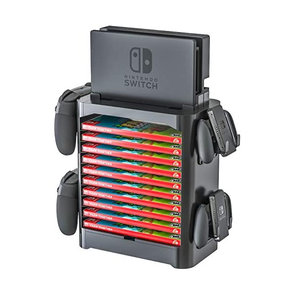 Skywin Game Storage Tower for Nintendo Switch – Game Disk Rack and Controller Organizer Compatible with Nintendo Switch and Accessories