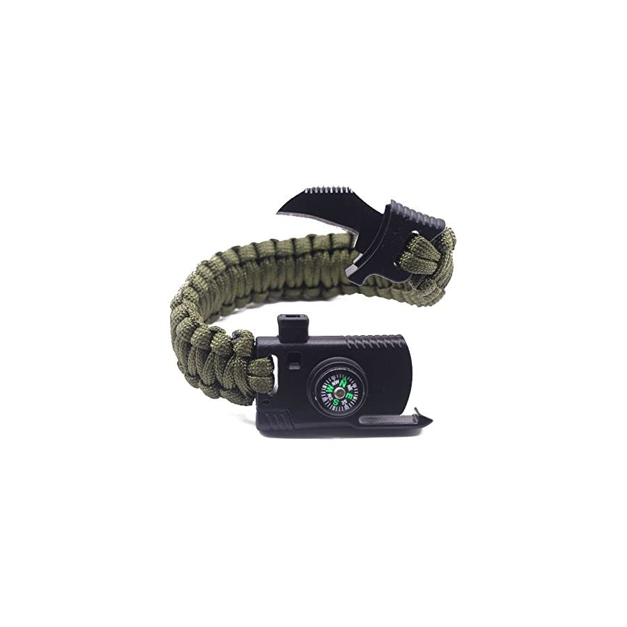 Camping Paracord Survival Bracelet Kit 500 LB Outdoor Hiking Travelling Hunting Gear Emergency Tactical Parachute Rope Bracelet Compass, Fire Starter, Knife, Whistle Military