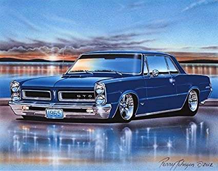 Amazon Com 1965 Pontiac Gto Hardtop Muscle Car Art Print Blue 11x14