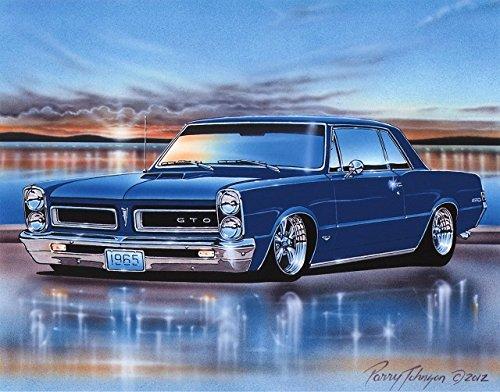 1965 Pontiac GTO Hardtop Muscle Car Art Print Blue 11x14 ()