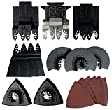 Multi-tool Oscillating Saw Blades 23 Piece Contractor Grade Wood Plastic Soft Metal Quick Release Bonus Sanding Attachment with Sandpaper Fits most Brands