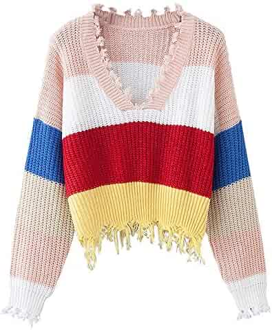 444a62a53cb22 DEZZAL Women s Loose Long Sleeve V-Neck Ripped Pullover Knit Sweater Crop  Top