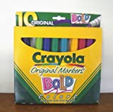 : CRAYOLA ORIGINAL MARKERS BOLD COLORS, 10 MARKERS