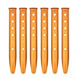 Cosmos® Pack of 6 Orange Color Aluminum Tent Stakes for Camping / Trip / Hiking / Backpacking or Other Outdoor Activities in Sand or Snow