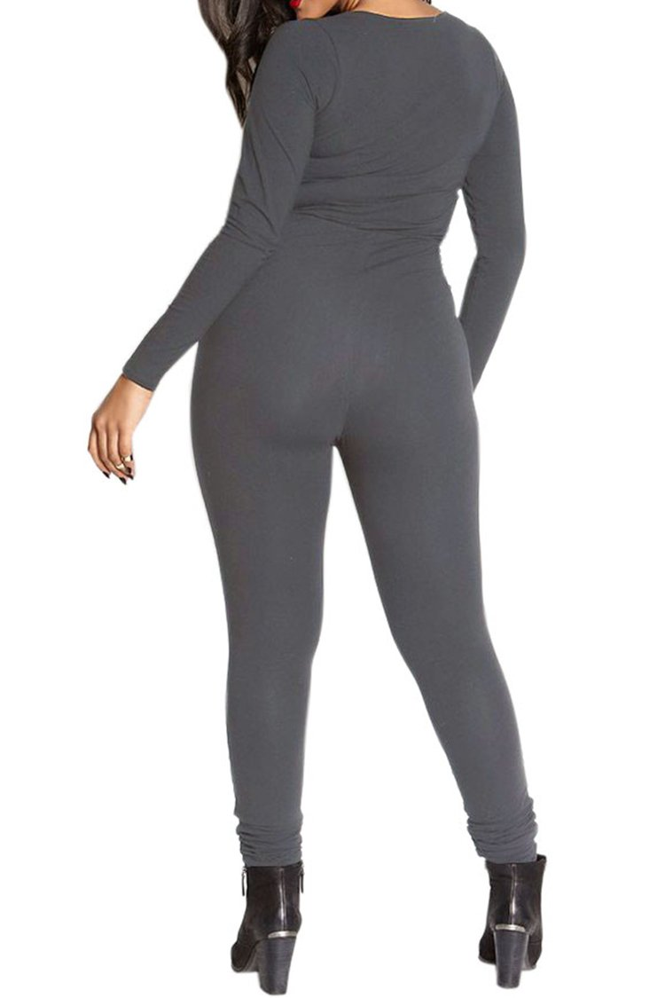 Fixmatti Womens Zip up V Long Sleeve Bodycon Cotton Long Pant Sport Jumpsuit Romper Grey XL by Fixmatti (Image #3)