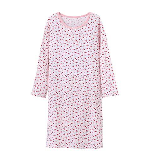 BLOMDE Girls Floral Nightgowns Bownot Sleepwear Cotton Sleep Shirts 3-12 Years