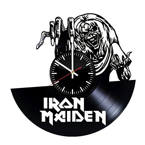 Price comparison product image basalt dStudio - Wall Clock - Unique design Vinyl Clock - Wall Clock Iron Maiden England Vinyl Record Wall Clock - Get unique home wall decor - Gift ideas for girls,  boys and men
