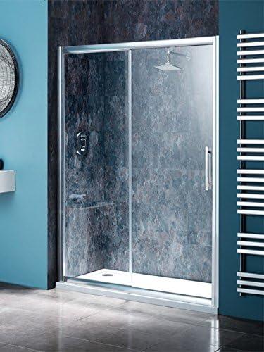 Recinto de la ducha empotrado 1300 x760 resina de piedra bandeja y sola puerta corredera: Amazon.es: Hogar