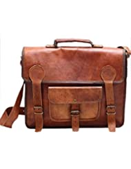 Right Choice Vintage Genuine Leather Laptop Briefcase messenger satchel bag18X13X6 Brown