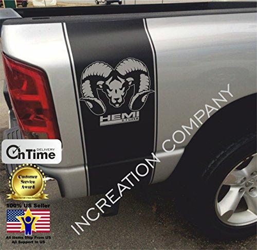 (INCreation Company Compatible with 2002-2018 Dodge Ram 1500 2500 Rear Side Bed Black Decals, Mopar RT Super Rumble Bee Stripes Vinyl Stickers, 5.7 L auto Graphics SRT Hellcat, Hemi, Rebel)