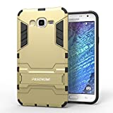 J7 Case, Galaxy J7 Case, Pasonomi [Heavy Duty] [Shock-Absorption] [Kickstand Feature] Hybrid Dual Layer Armor Defender Full Body Protective Case Cover for Samsung Galaxy J7 2015 (Kickstand Series Golden)