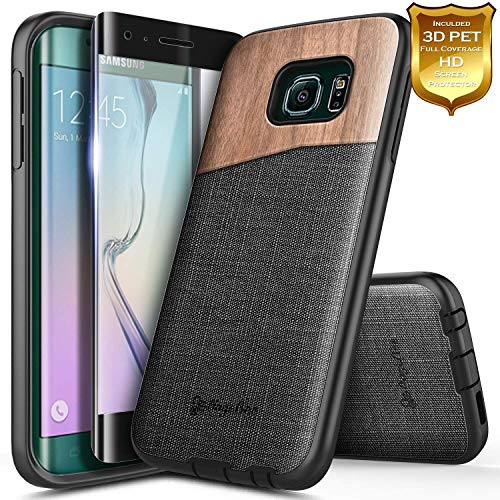 Galaxy S6 Edge Wood Case, NageBee Premium [Natural Wood] Canvas Fabrics Heavy Duty Shockproof Hybrid Defender Rugged Durable Case w/[Full Coverage Screen Protector] for Samsung Galaxy S6 Edge -Wood