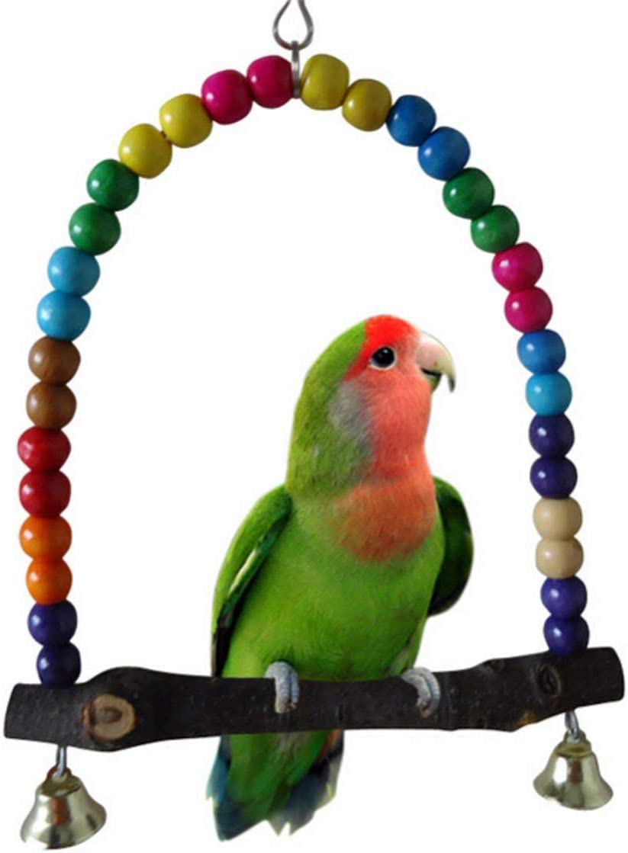 madera pájaro loro juguetes, columpio colgante, colgante campana mascota jaula de pájaros hamaca columpio juguete, para loros pequeños, periquitos pequeños, cacatúas, guacamayos, pinzones