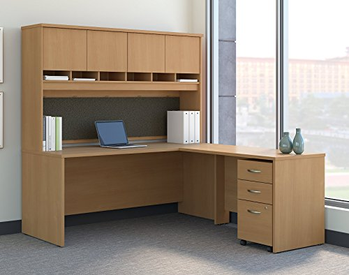 (Bush Business Furniture Series C 72W L Shaped Desk with Hutch and Mobile File Cabinet in Light Oak )
