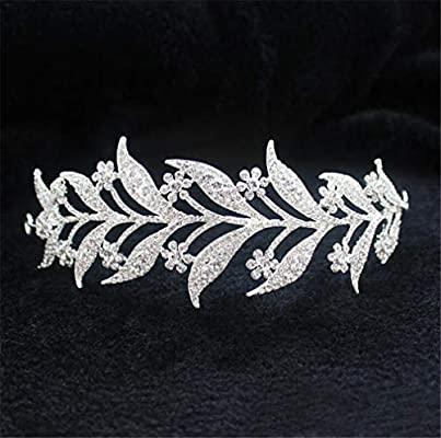Bridal Crown Wedding Prom Tiara Jewelry Bride Leaves Rhinestone Hair Accessories