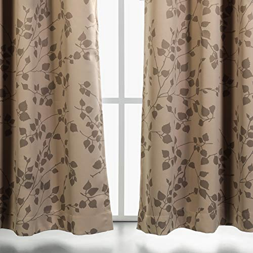 MYSKY HOME Twigs Fashion Design Print Thermal Insulated Blackout Curtain with Grommet Tops for Nursery Room, 52 x 84 inch, Taupe, 1 Panel