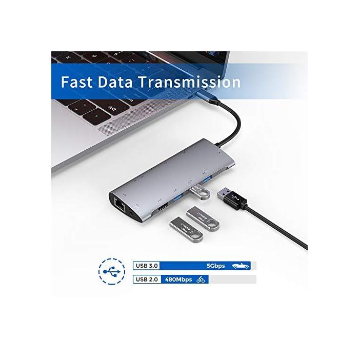 5179A7%2Bh9hL Haz clic aquí para comprobar si este producto es compatible con tu modelo USB C Hub 11 en 1: transforma un puerto USB C en tres USB 3.0, un USB 2.0, un suministro de energía tipo C, un 4K HDMI, un Gigabit 10/100/1000 Ethernet, un puerto VGA 1080P, un audio de 3.5 mm Jack, y un lector de tarjetas SD / TF. Todos los puertos pueden ser utilizados simultáneamente. Ethernet Gigabit: admite el puerto Ethernet Gigabit RJ45 a 1000Mbps, compatible con versiones anteriores con LAN RJ45 a 100Mbps / 10Mbps. Acceda a una red confiable y súper rápida de 1 Gbps en cualquier lugar donde haya una conexión Ethernet.