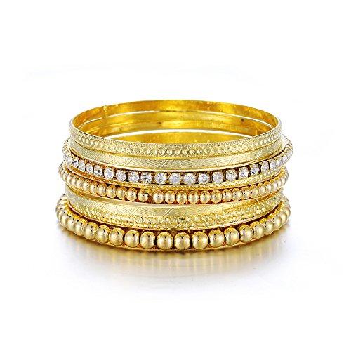 - ENSOUL Gold Color Metal Bracelets & Bangles Set for Women 8Pcs/Set W/Clear Rhinestones