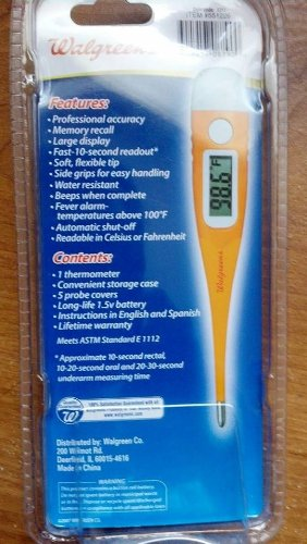 Amazon.com: WALGREENS 10 SECOND QUICK READ DIGITAL THERMOMETER FLEXIBLE: Health & Personal Care