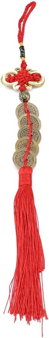 QJL_ANA Borlas de Nudo Chino Antiguo Colgador de Moneda de Caracteres Chinos Ornamento Decorativo for el Coche Colgante decoración Accesorio (Color : Red)