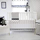 My Baby Sam Out of The Blue Crib Set, Navy/Gray