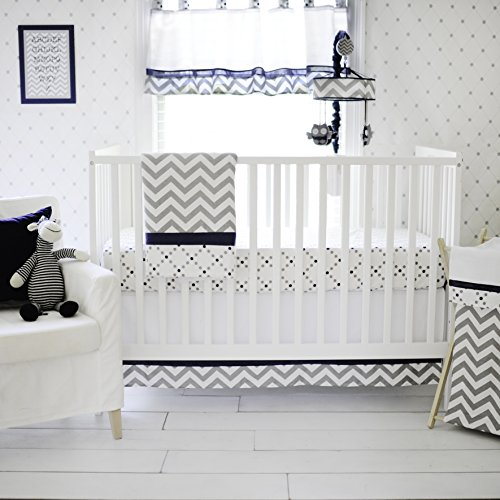 My Baby Sam Out of The Blue Crib Set, Navy/Gray by My Baby Sam