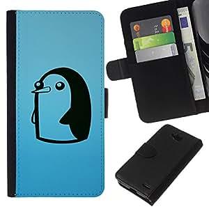 All Phone Most Case / Oferta Especial Cáscara Funda de cuero Monedero Cubierta de proteccion Caso / Wallet Case for LG OPTIMUS L90 // Cute Funny Minimalist Penguin