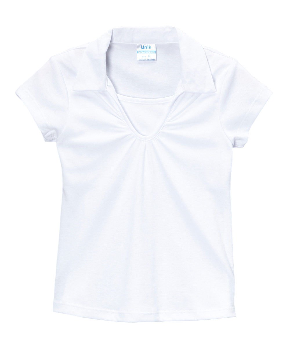 unik Girl's Uniform V-Neck Collar Shirt Short Sleeve, White Size 14 by unik