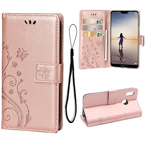 Wallet Case for Huawei P20 LITE, 3 Card Holder Embossed Butterfly Flower PU Leather Magnetic Flip Cover for Huawei P20 LITE(Rose ()