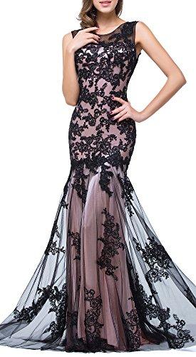 Babyonlinedress Scoop Neck Mermaid Black Lace Applique
