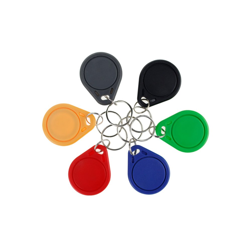 (10pcs) OBO HANDS RFID ISO 1443A MF Classic 1K S50 Card Only Read 13.56MHz Proximity Keyfobs NFC Tag Keychain Token (Black)