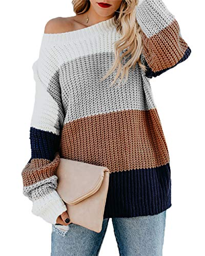 - HZSONNE Women's Casual Color Block Chunky Stripe Cable Knitted Crew Neck Loose Pullover Sweaters Jumper Tops Chocolate