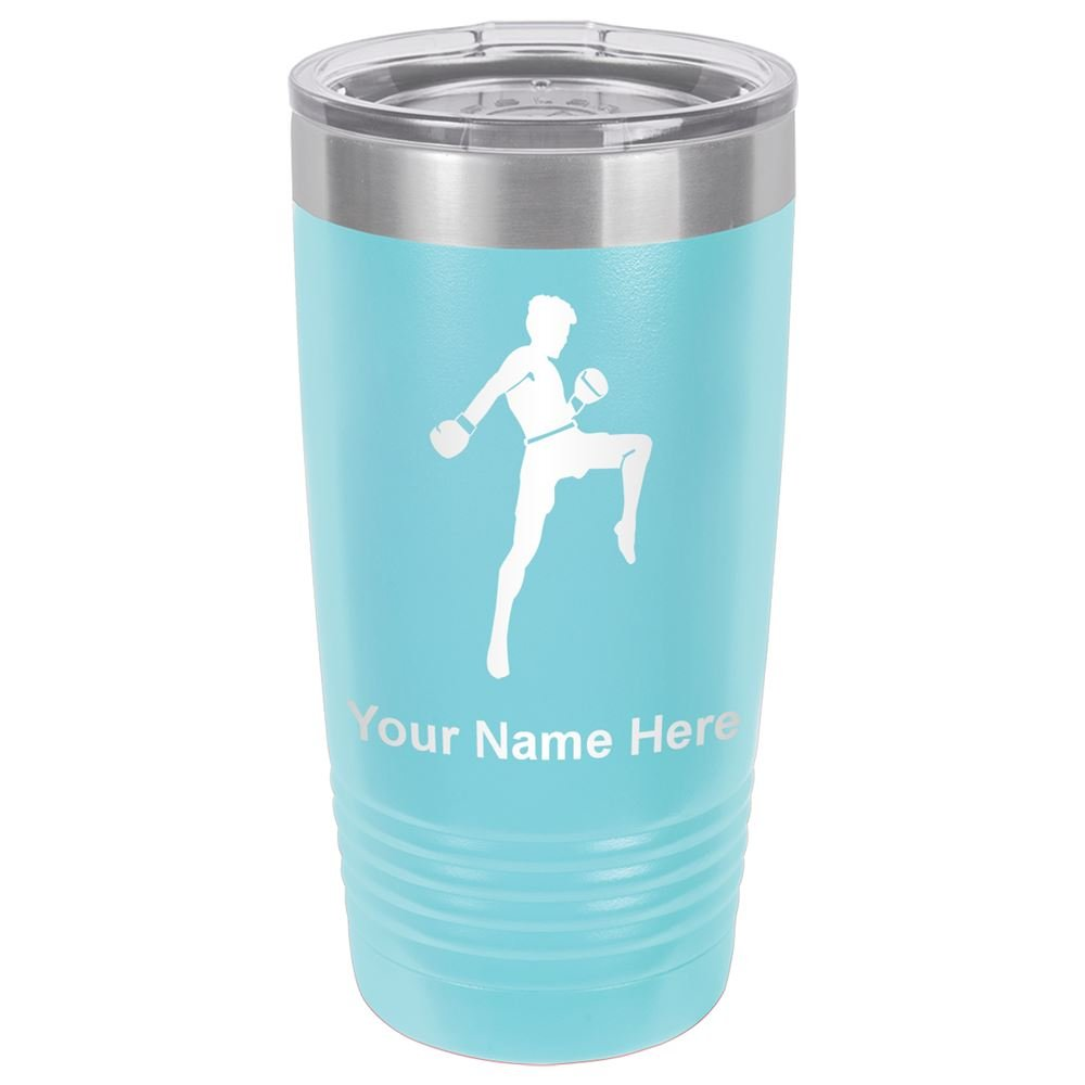 20oz Tumbler Mug, Muay Thai Fighter, Personalized Engraving Included (Light Blue)