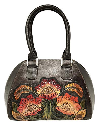Women Designer Vintage Handmade Walnut for Artisan Floral Leather Top Handbag Alexandria CrossBody Handle Gift 7q4ZgwwU