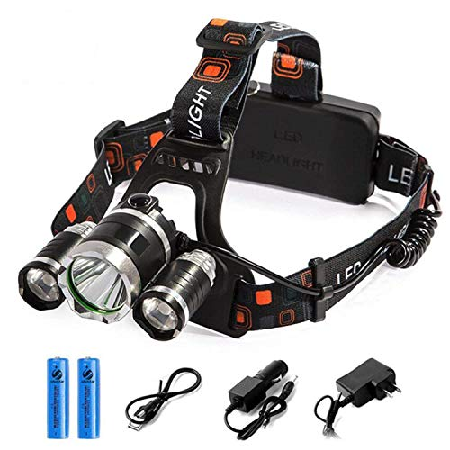 Headlight Flashlight Headlamp - Rechargeable LED Headlamp, 10000 Lumens Bright Headlight, Portable Waterproof Flashlight Kit with 18650 Batteries for Night Hunting Fishing Camping