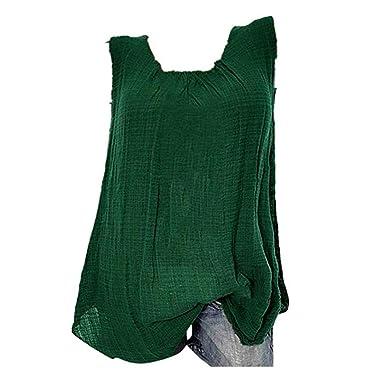 38257fb848 JOYFEEL 💕 Sale Women's Plus Size Cotton Linen Casual Blouse Loose Sleeveless  Shirt Summer Tank Tops