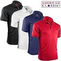 [Sponsored] Albert Morris Mens Striped Short Sleeve Polo Shirts 4 Pack (American Classics)