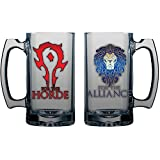 Warcraft Horde/Alliance Double Sided 16 Oz Glass Beer Mug (Small Image)