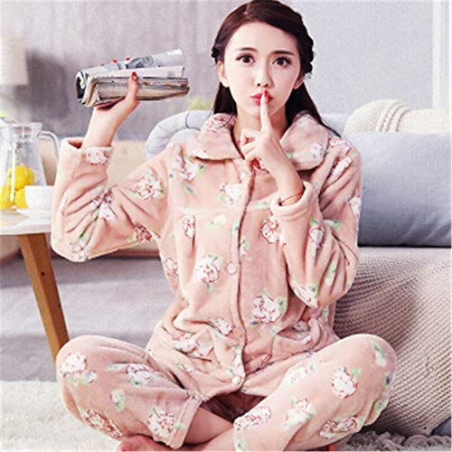 Warm M Pajamas sleeved Coral Winter Padded Casual Suit Women's Long Xl Flannel Autumn Service Cardigan And Home Baijuxing Fleece fdTqzEwBT