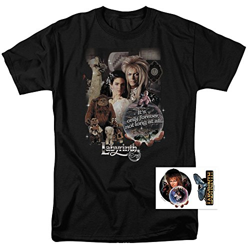 Labyrinth Movie Goblin King David Bowie T Shirt & Exclusive Stickers (Large)