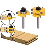 """2Pcs Tongue & Groove Router Bit 3/4"""" Stock 1/4"""" Shank For Woodworking Tool ss"""