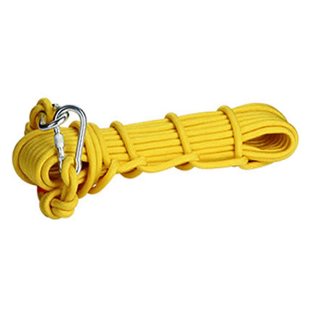 Professional Fire Escape Rope 10mm 14KN Steel Cord Wire Rope with Carabiners Home Fire Rescue Essential(Yellow 20Meter)